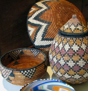 Selection of Zulu Beer Baskets and Telephone Wire Bowls