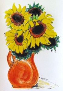 Sunflowers in Orange Pitcher, Jill Kantor